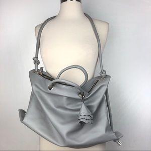 ZARA tote shoulder bag gray flower knot detail